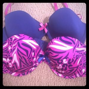 Blue and Pink Bras